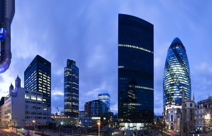 Evening time shot of London`s financial district.