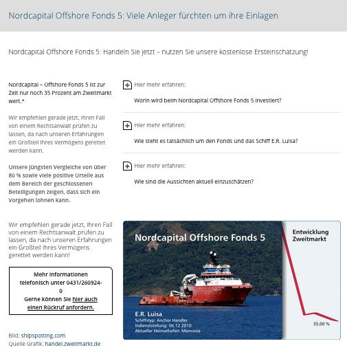 Schiffsfonds Nordcapital Offshore Fonds 5 GmbH & Co. KG  – Schlechte Aussichten für Anleger