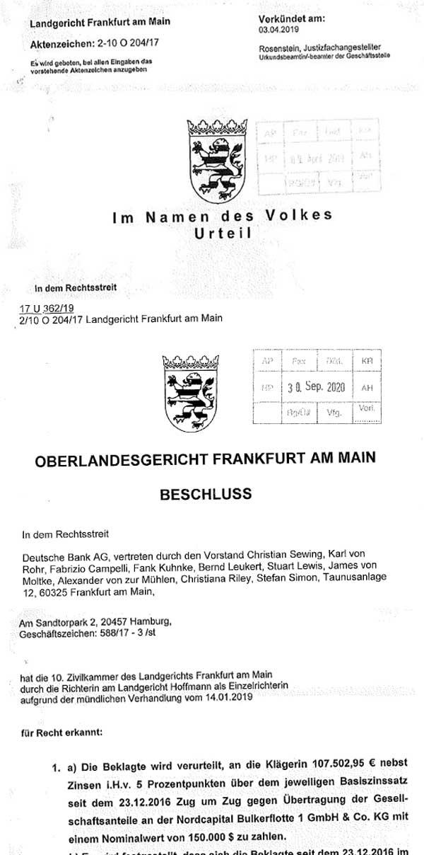 Urteil Nordcapital Bulkerflotte